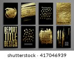 set of black and gold design... | Shutterstock .eps vector #417046939