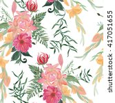 seamless pattern with beautiful ... | Shutterstock . vector #417051655