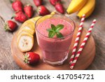 smoothie with banana and... | Shutterstock . vector #417054721