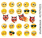 vector smile icon set. 24... | Shutterstock .eps vector #417074221