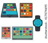 vector set of smartphone ... | Shutterstock .eps vector #417074695