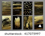 set of black and gold design... | Shutterstock .eps vector #417075997