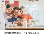 dad  mum and their eight year... | Shutterstock . vector #417083371