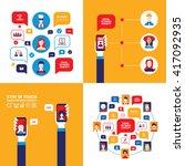 hand holding smartphone social... | Shutterstock .eps vector #417092935