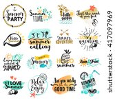 Set of hand drawn watercolor summer signs and banners. Vector illustrations for summer holiday, travel agency, restaurant and bar, menu, sea and sun, beach vacation and party. | Shutterstock vector #417097969