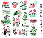 set of hand drawn watercolor... | Shutterstock .eps vector #417097981