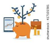 investment portfolio and piggy... | Shutterstock .eps vector #417101581