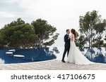 bride and groom at wedding day... | Shutterstock . vector #417106675
