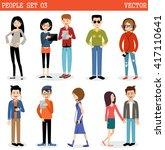 set of modern people  men and... | Shutterstock .eps vector #417110641