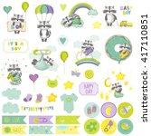 baby boy raccoon scrapbook set. ... | Shutterstock .eps vector #417110851