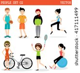 set of the people playing... | Shutterstock .eps vector #417111499