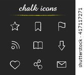 web browser chalk icons set....