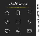 web browser chalk icons set....