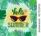 vector summer illustration hand ... | Shutterstock .eps vector #417121411
