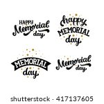 happy memorial day  text with... | Shutterstock .eps vector #417137605