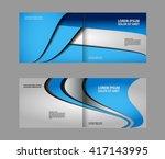 vector empty bi fold brochure... | Shutterstock .eps vector #417143995