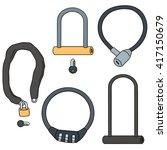 Vector Set Of Bicycle Lock
