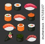 sushi rolls flat food and... | Shutterstock .eps vector #417153157