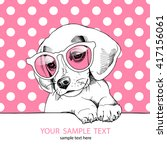 beagle puppy in a pink glasses. ... | Shutterstock .eps vector #417156061
