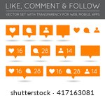 vector like  follower  comment... | Shutterstock .eps vector #417163081