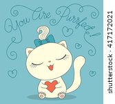 cute cartoon cat with heart and ... | Shutterstock . vector #417172021
