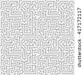 black complicated maze on white ... | Shutterstock .eps vector #417172117