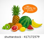 exotic tropical fruits... | Shutterstock .eps vector #417172579