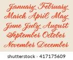 handwritten names of months ... | Shutterstock .eps vector #417175609