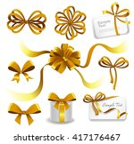 set of gold gift bows with... | Shutterstock .eps vector #417176467