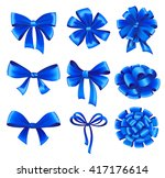 set of blue gift bows with... | Shutterstock .eps vector #417176614