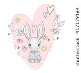 pretty bunny heart and flowers... | Shutterstock .eps vector #417179164