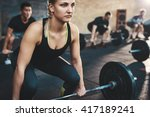 fit young woman lifting... | Shutterstock . vector #417189241