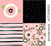 set of seamless floral pattern   Shutterstock .eps vector #417193915