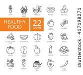 healthy food icon set. vector...