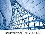 Abstract blue wall interior background, horizontal composition - stock photo