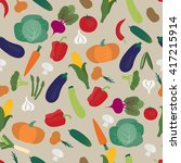 hand drawn seamless vegetable... | Shutterstock .eps vector #417215914