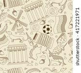 vector line art doodle set of... | Shutterstock .eps vector #417221971