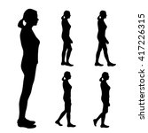 Vector Silhouettes Of Women On...