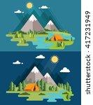 morning landscape in the... | Shutterstock .eps vector #417231949