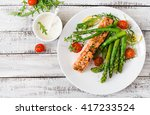 baked salmon garnished with... | Shutterstock . vector #417233524