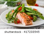 baked salmon garnished with... | Shutterstock . vector #417233545