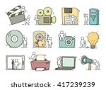 Electronic Icons Set Of Sketch...