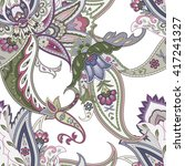 fantasy flowers seamless...   Shutterstock . vector #417241327