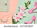 fashion woman accessories set.... | Shutterstock . vector #417241837