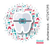 flat tooth in braces sticker... | Shutterstock .eps vector #417247195