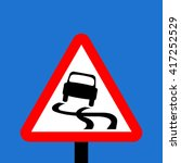 warning triangle slippery road... | Shutterstock . vector #417252529