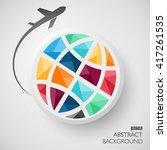 Plane Globe Icon. Plane Globe...