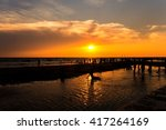 sunset at bangsean beach... | Shutterstock . vector #417264169