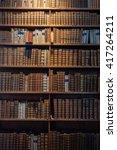 ancient wooden book shelves... | Shutterstock . vector #417264211