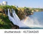 waterfall duden falling into... | Shutterstock . vector #417264265